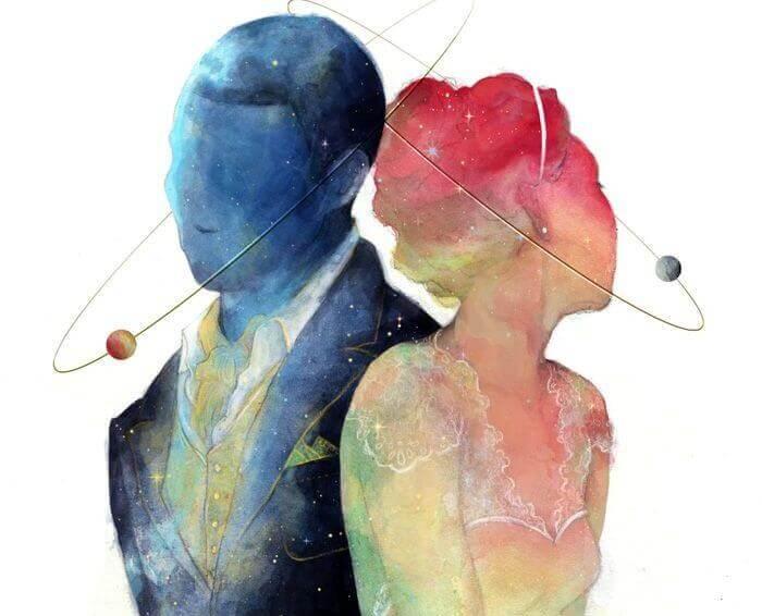 Par i blått & rosa