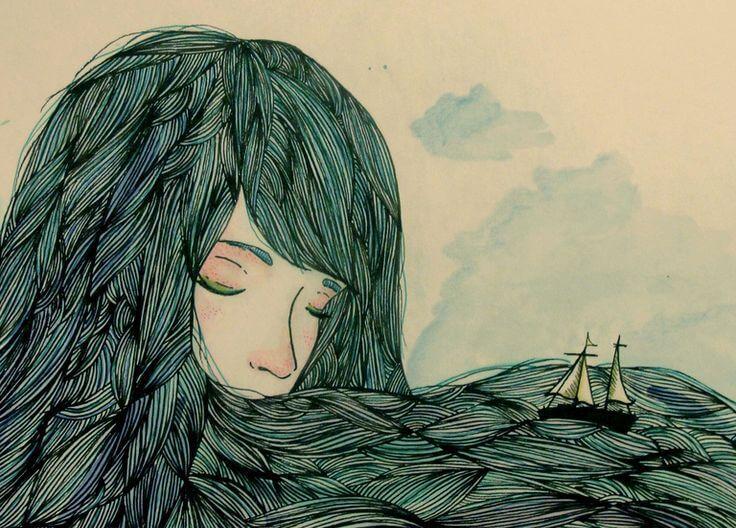 Segelbåt i hår