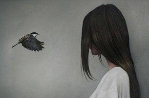 Kvinna och fågel
