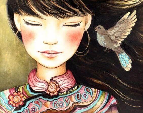 Asiatisk flicka & fågel