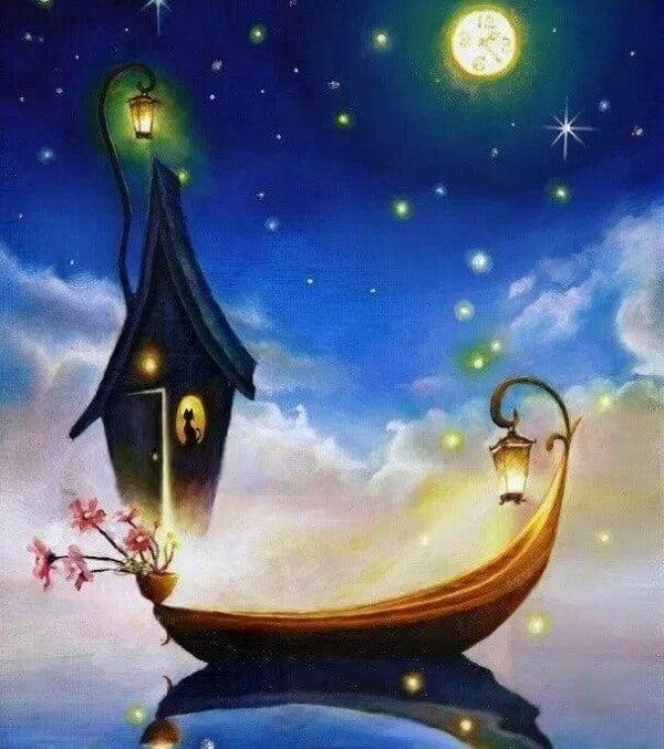 Båt under stjärnhimmel