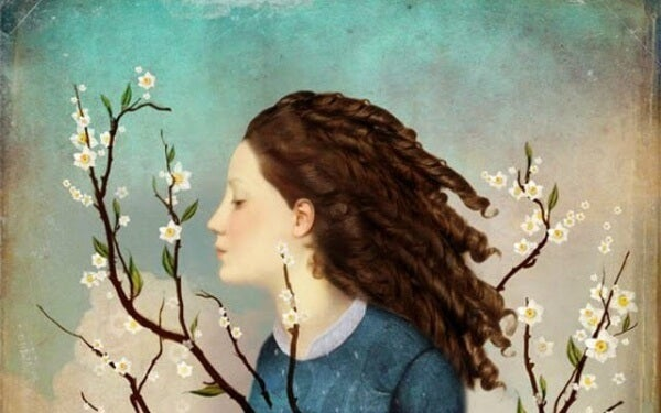 Flicka och grenar