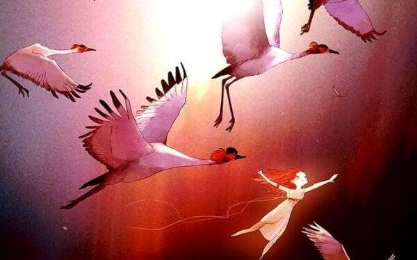 Flyga med fåglar