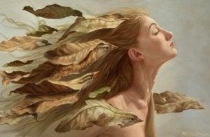 Kvinna med löv