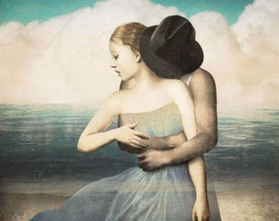 Man kramar kvinna