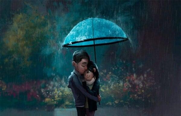Par kramas i regnet