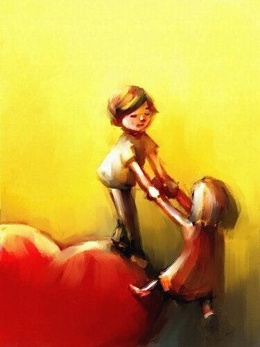 Pojke hjälper flicka