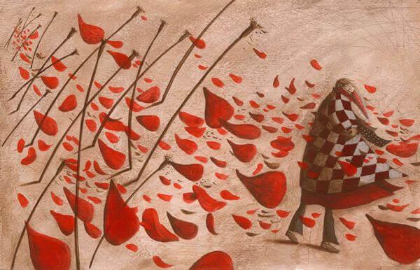 Blomblad i vinden