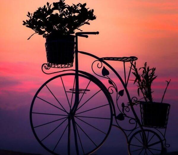 Cykel med växter