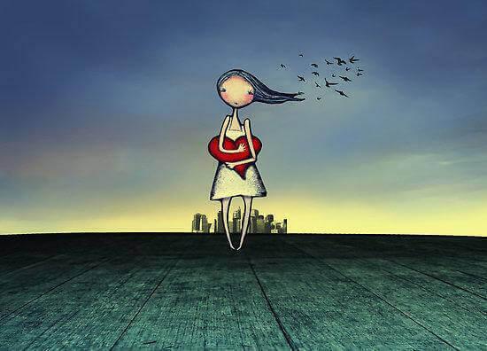 Ensam flicka med hjärta