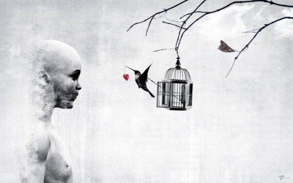 Fågel och bur