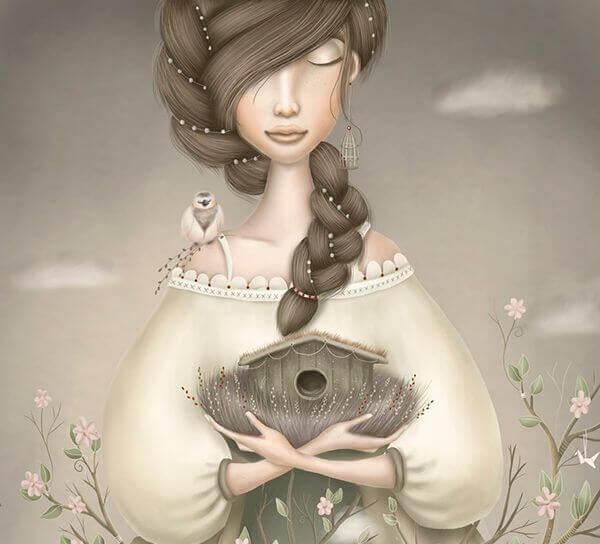 Flicka med fågelholk