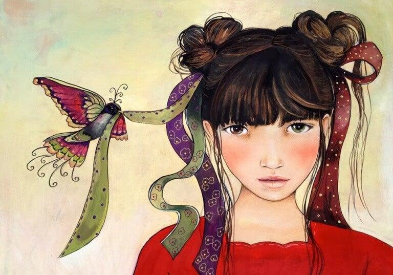 Flicka med hårband