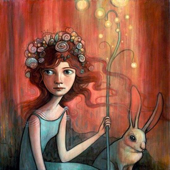 Flicka med kanin