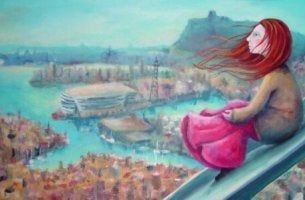 Flicka på bro