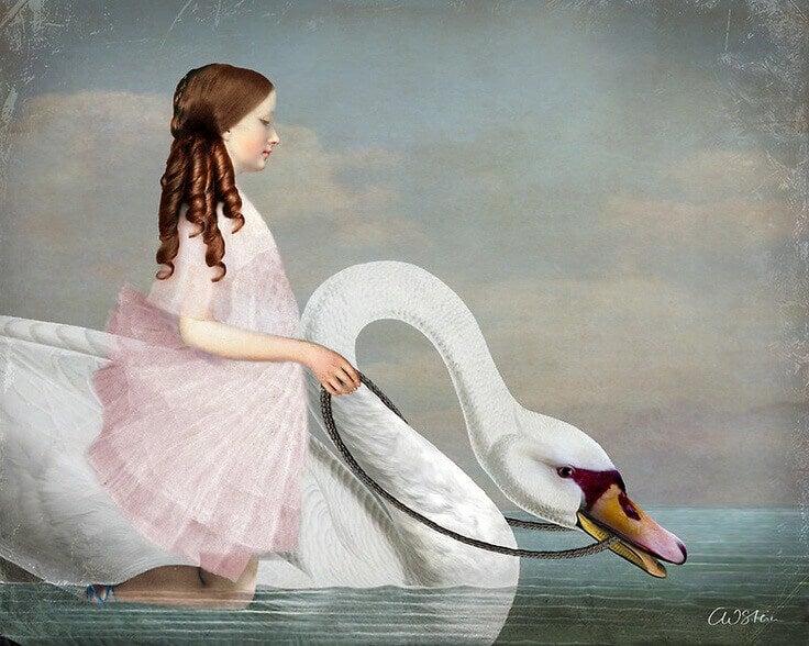 Flicka på svan