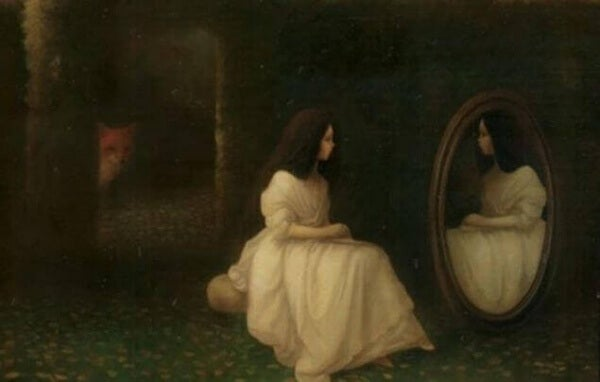 Flicka ser i spegel
