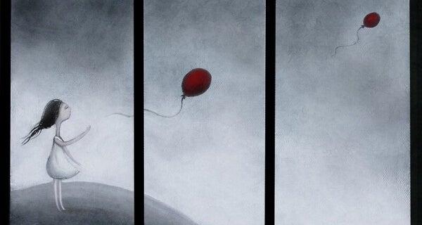 Flicka släpper ballong