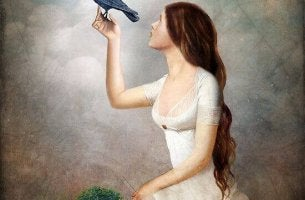Kvinna med fågel