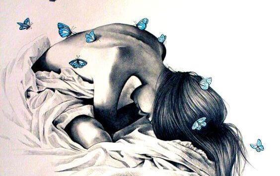 Kvinna med fjärilar