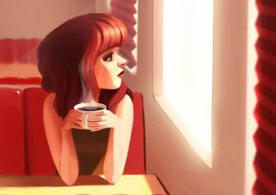 Kvinna med kaffe