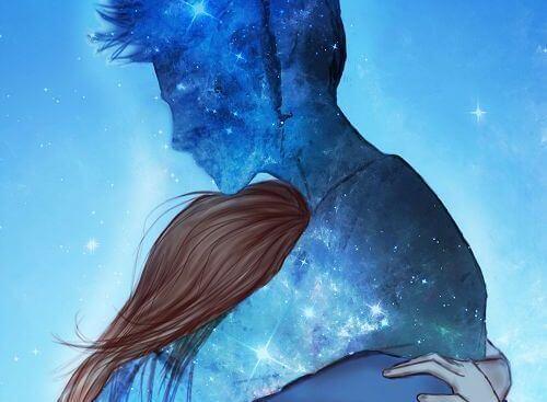 Kvinna och blå man
