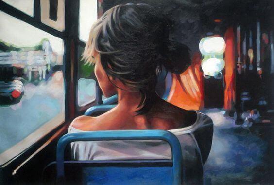 Kvinna på bussen