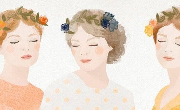 Kvinnor med blomsterkransar