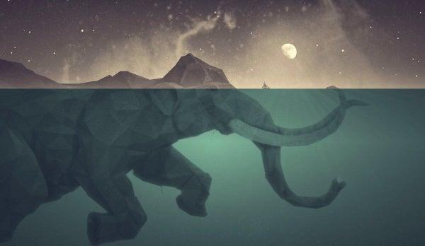 Simmande elefant