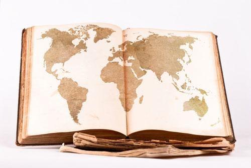 Världskarta i bok
