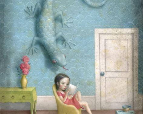 Ödla på väggen