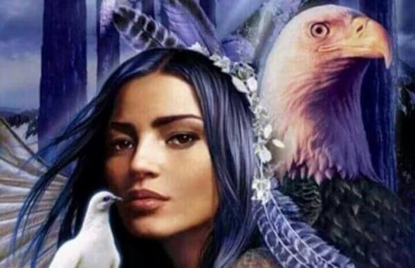 Örn, duva och kvinna