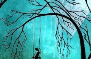 Ensam kvinna på gunga
