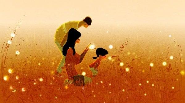 Familj på äng