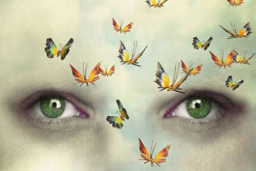 Fjärilar framför ansikte