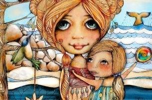 Flicka kramar mor