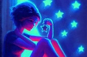 Flicka med neonstjärnor