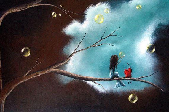 Flicka och hjärta i träd
