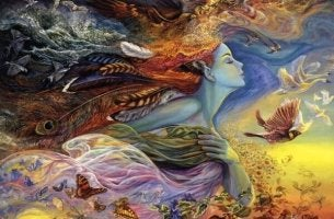 Kvinna med fåglar