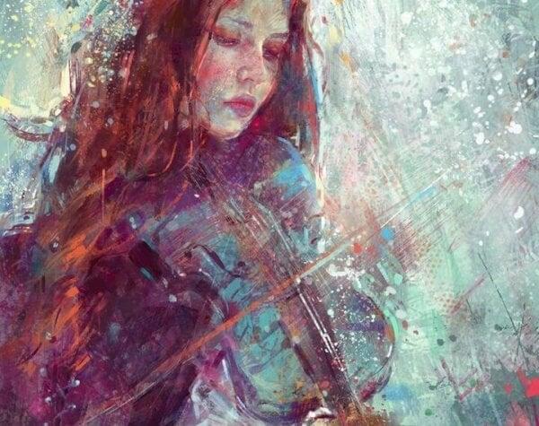 Kvinna spelar fiol