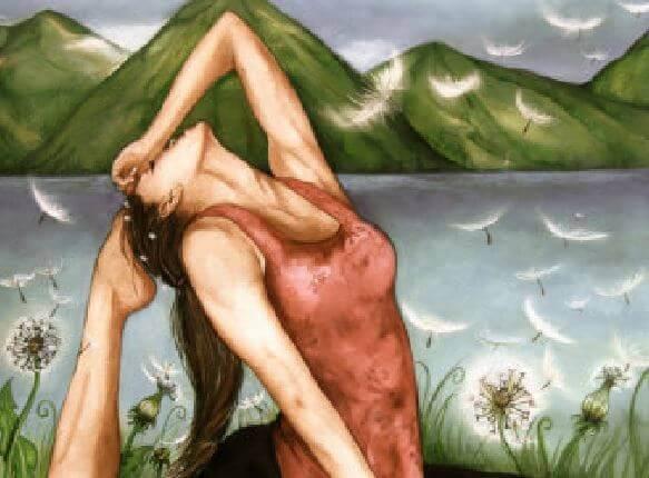 Kvinna utför yoga