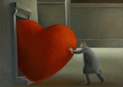 Man knuffar hjärta