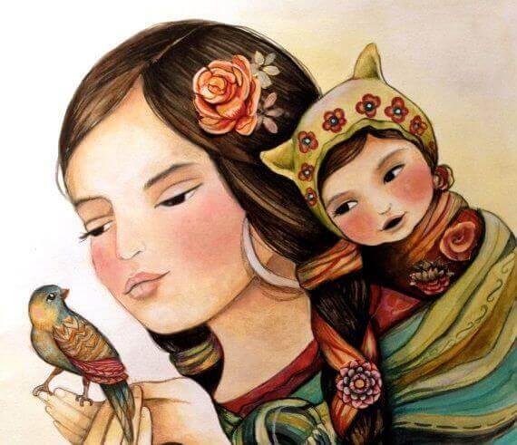 Mor, dotter och fågel