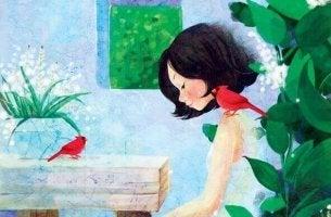 Flicka och fåglar