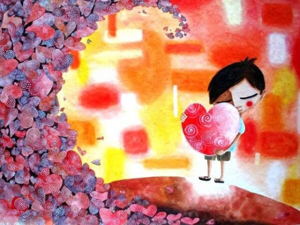 Pojke kramar hjärta