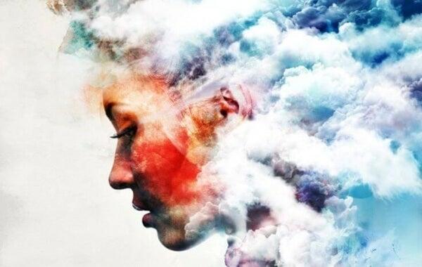 Profil bland moln