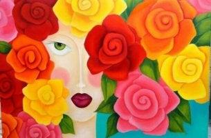 Kvinna med rosor