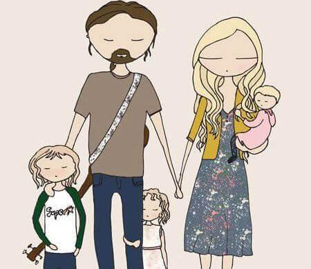 Blundande familj