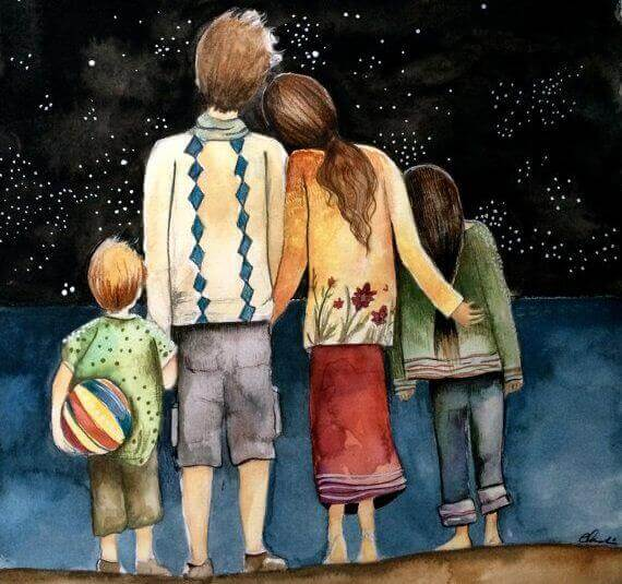 Familj under stjärnhimmel