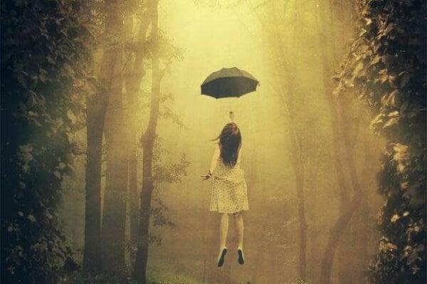 Flyger med paraply